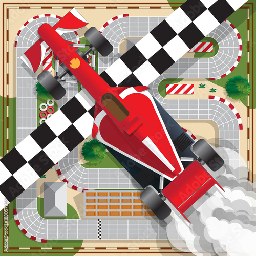 Fotobehang F1 Race car on the background track. View from above. Vector illustration.