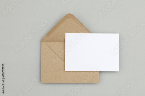 blank white card with kraft brown paper envelope template mock up