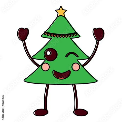 christmas tree kawaii cartoon smiling - 188061925