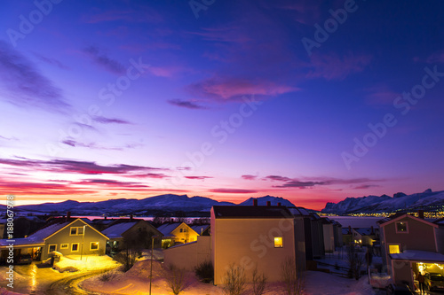 Foto op Canvas Donkerblauw winter rising.Tromso