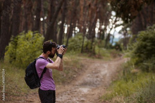 Foto Murales Photographer work backstage nature concept. Creating a beautiful photo.