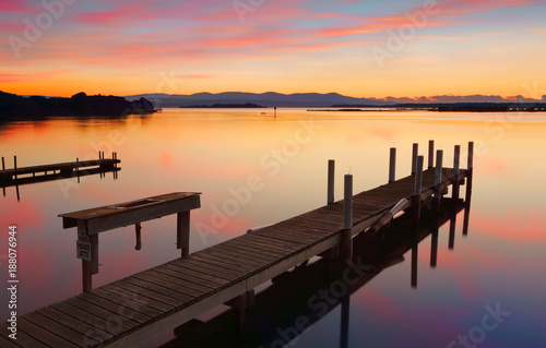 Foto Murales Lovely old timber jetty at sunrise