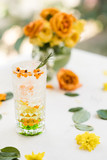 refreshing sea-buckthorn cocktail recipe concept. delicious beverages. floral decoration. - 188078165