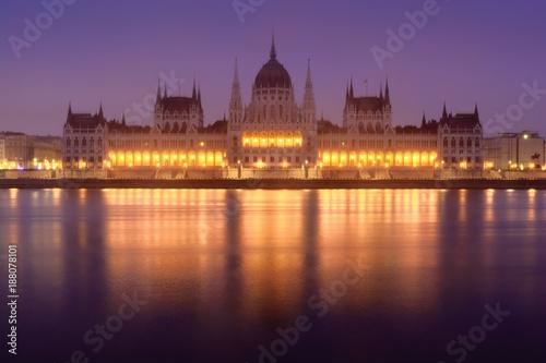 Fotobehang Boedapest Budapest Parliament building frontal view across Danube river