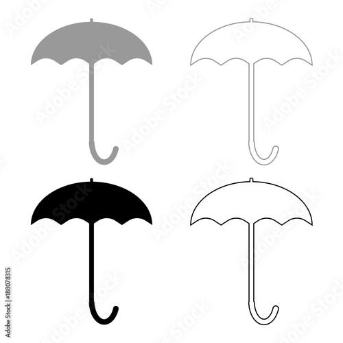 Umbrella icon . Illustration grey and black color .