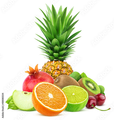 Foto Murales Assortment of exotic fruits isolated on white background with clipping path