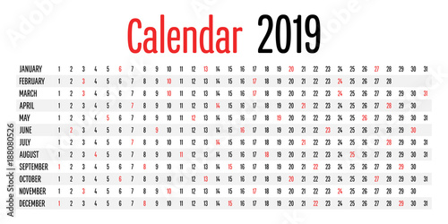 2019 Calendar Planner Design Template Vector Illustration Simple Clear Indicate Sunday with Red