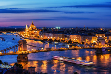Budapest City in Hungary at Evening Twilight