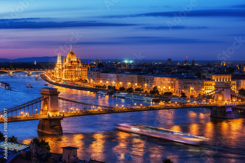 Deurstickers Boedapest Budapest City in Hungary at Evening Twilight