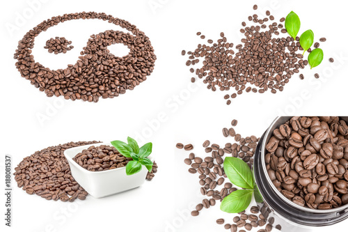 Collage of coffee isolated on a white background cutout - 188081537