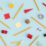 Creative, fashionable, minimalistic, school or office background. Flat lay.