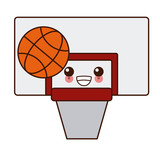 Basketball sport symbol cute kawaii cartoon vector illustration design - 188084580