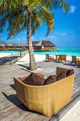 Beach bar on a holiday island resort in Maldives