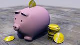 Bitcoin, criptovaluta, moneta elettronica, moneta virtuale, transizioni. Salvadanaio, maialino, risparmi
