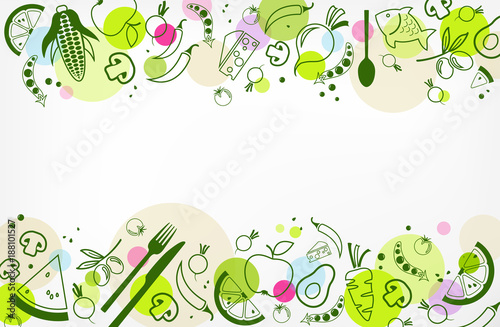 colourful & healthy food background - vector illustration - 188101527