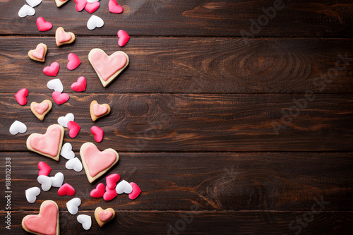 Valentines day greeting card with heart cookies - 188102338