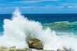 Ocean Waves Crashing Spray Coastline