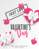 Valentines Day banner. Romantic vector template with gift box, hearts and typography for St valentine or Birthday Greeting card - 188112171