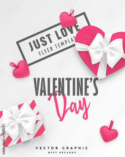 Valentines Day Banner Romantic Vector Template With Gift Box