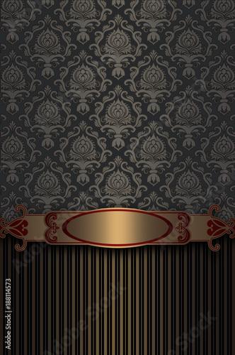 Luxury vintage background with golden border. - 188114573