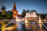 Sforza Castel at night in Milan, Italy