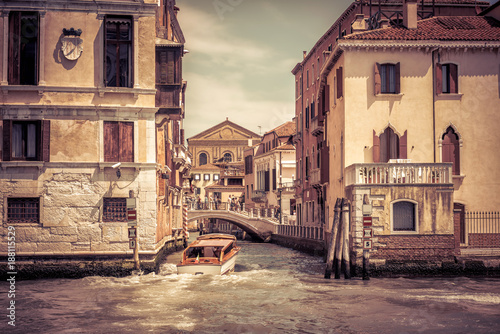 Grand Canal and narrow canal in Venice, Italy - 188115529