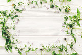 hello spring flat lay. fresh daisy lilac flowers and green herbs frame on white wooden rustic background top view. greeting card. space for text. mock-up. happy mothers day. earth day - 188115928