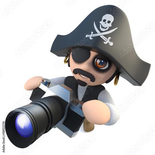 3d Funny cartoon pirate captain holding a camera