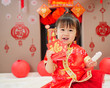 Chinese baby girl  traditional dressing up with a