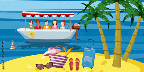 Sea rest boat ride banner vertical, cartoon style
