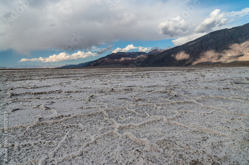 Salt flat at Badwater in Death Valley Poster