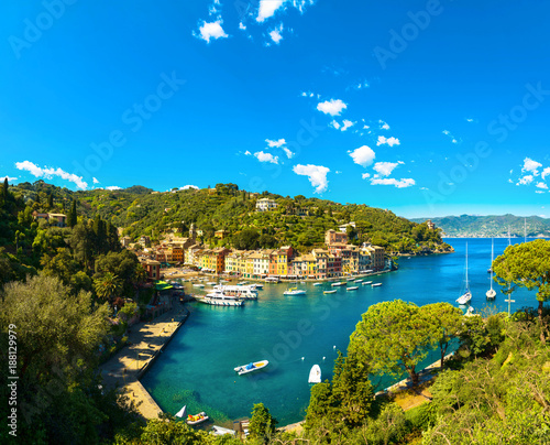 Fotobehang Liguria Portofino luxury village landmark, panoramic aerial view. Liguria, Italy