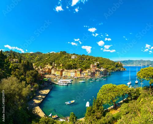 Foto op Plexiglas Liguria Portofino luxury village landmark, panoramic aerial view. Liguria, Italy