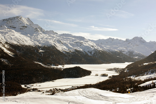 A beautiful view of the snow covered landscape and mountains in the alps swizterland