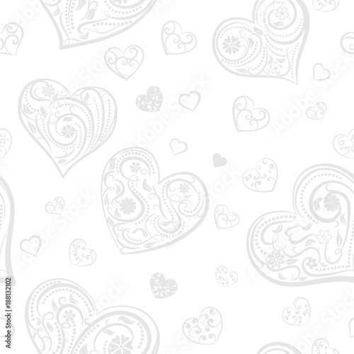 Seamless pattern of big and small hearts with ornament of curls, flowers and leaves, gray on white