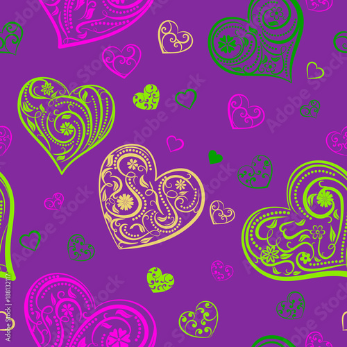 Seamless pattern of big and small hearts with ornament of curls, flowers and leaves, multicolored on purple