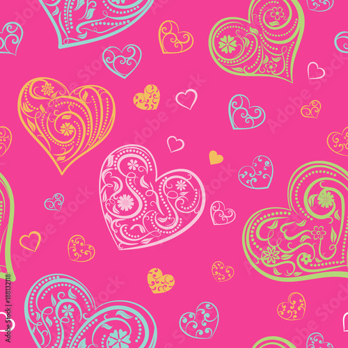 Seamless pattern of big and small hearts with ornament of curls, flowers and leaves, multicolored on pink