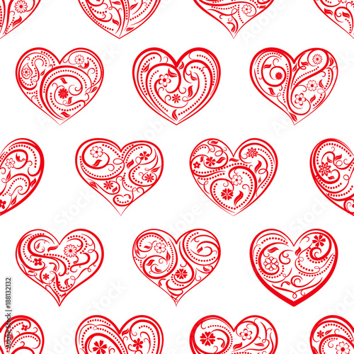 Seamless pattern of big hearts with ornament of curls, flowers and leaves, red on white