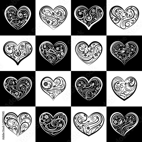 Background or seamless pattern of hearts with ornament of curls, flowers and leaves, on black and white squares
