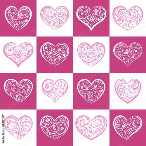 Background or seamless pattern of hearts with ornament of curls, flowers and leaves, on pink and white squares