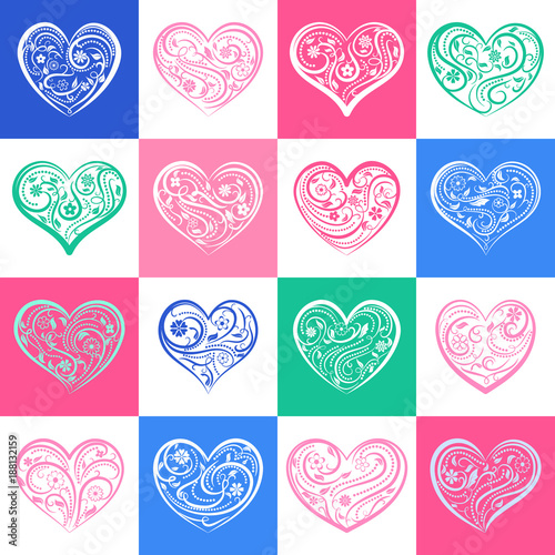 Background or seamless pattern of hearts with ornament of curls, flowers and leaves, on colored and white squares