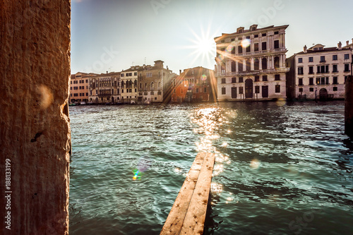 VENICE, ITALY - JANUARY 02 2018: sun rays on part of Canal Grande