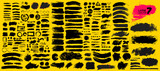 Big collection of black paint, ink brush strokes, brushes, lines, grungy. Dirty artistic design elements, boxes, frames. Vector illustration. Isolated on yellow background. Freehand drawing