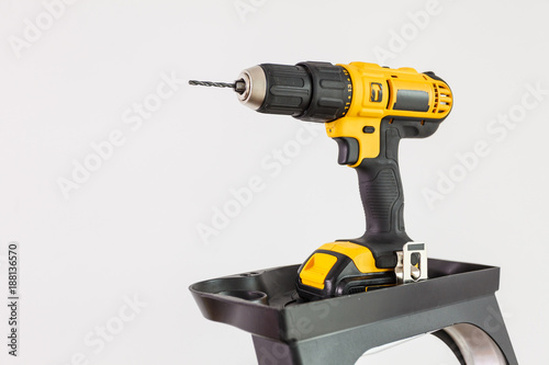 Work tool drill on clear background.