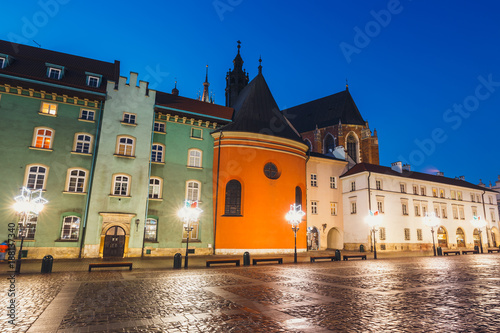 Night view of a small market in Krakow, Poland. Old town of Cracow listed as unesco heritage site