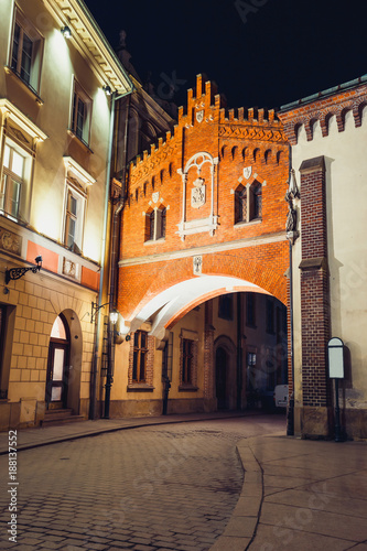 Czartoryski Museum in old town of Krakow at night, Poland © dziewul