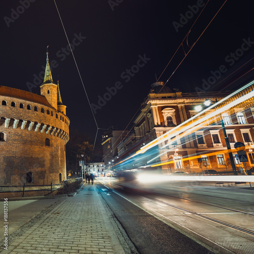 Fotobehang Krakau Barbican fortress in the historic center of Krakow at night, Poland