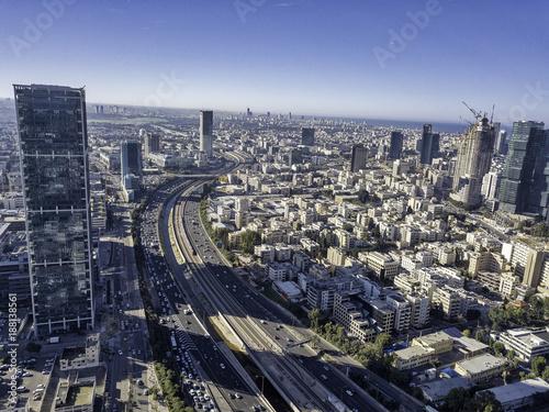Fridge magnet sky line of Tel Aviv towers and aerial Azrieli, sarona, israel