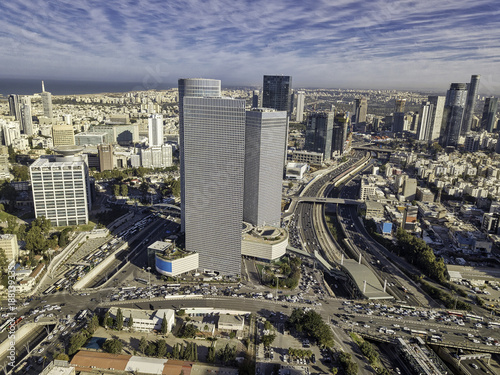 Foto op Plexiglas New York sky line of Tel Aviv towers and aerial Azrieli, sarona, israel