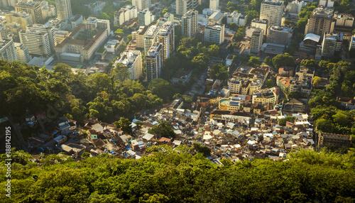 Inequality - contrast between poor and rich people in Rio de Janeiro, Brazil